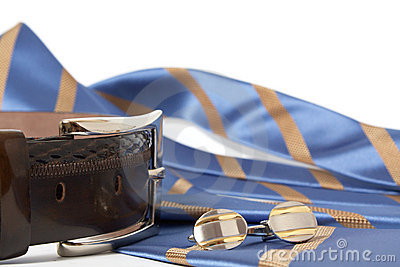 Tie, belt and cufflinks