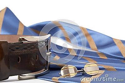 Tie, belt and cufflinks