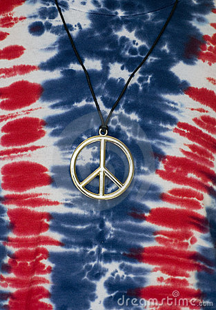 Tie Dye Shirt with Peace Symbol Necklace