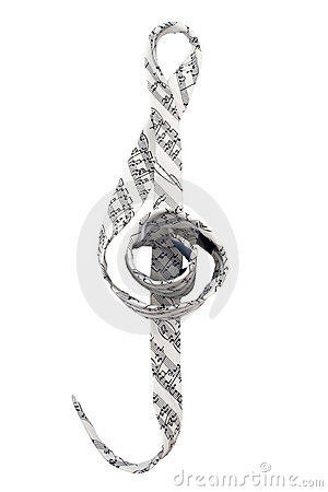 Tie with musical symbols and in violin clef shape