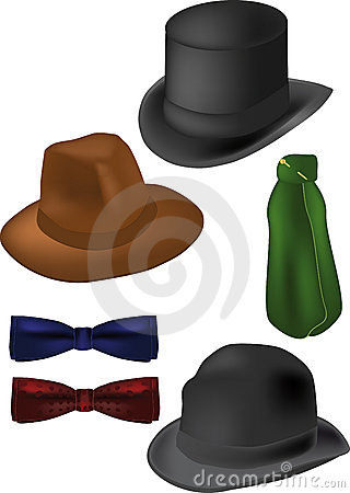 Free Tie The Butterfly Scarf Cylinder Fedora Royalty Free Stock Photos - 12836048