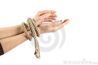 Tied hands isolated on white