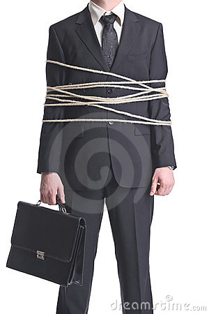 Tied-up businessman
