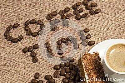 Tiempo del café escrito en granos de café