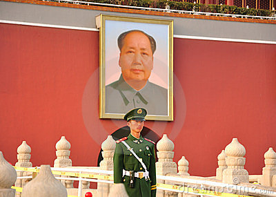 Tienanmen Square, Mao Zedong and soldiers Editorial Stock Photo
