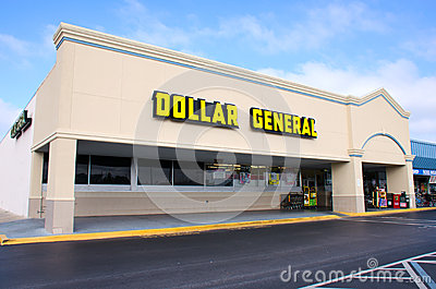 Tienda al por menor del descuento general del dólar Foto de archivo editorial