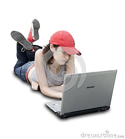 Tiener/Student met Laptop