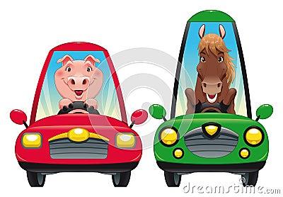 Tiere im Auto: Schwein und Pferd.
