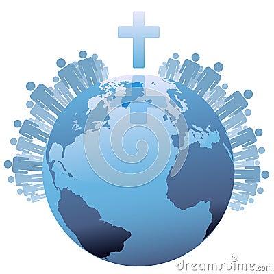 Tierra cristiana global del mundo bajo cruz