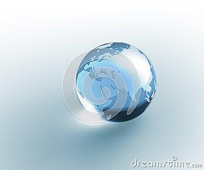Tierra de cristal transparente del globo