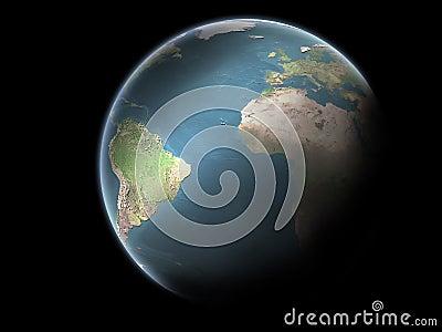 Tierra del planeta sin las nubes