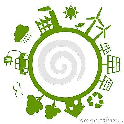 Tierra verde del planeta de la energía