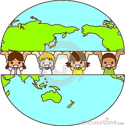 Tierra y los niños del mundo