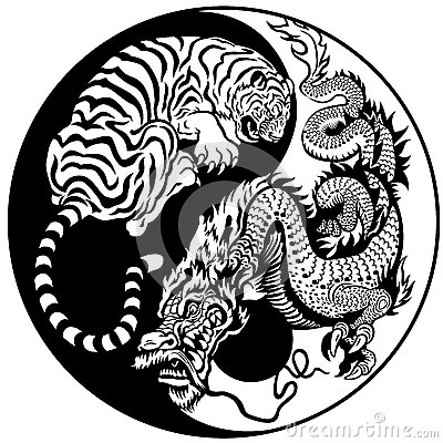 Free Tiger And Dragon Yin Yang Symbol Stock Images - 35171674