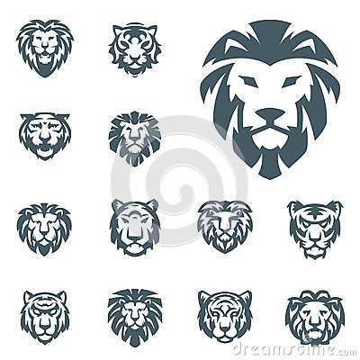 Free Tiger And Lions Vector Head Face Silhouette Badge Strength Predator Power Wildcat Illustration Power Animal Royalty Free Stock Image - 112182126