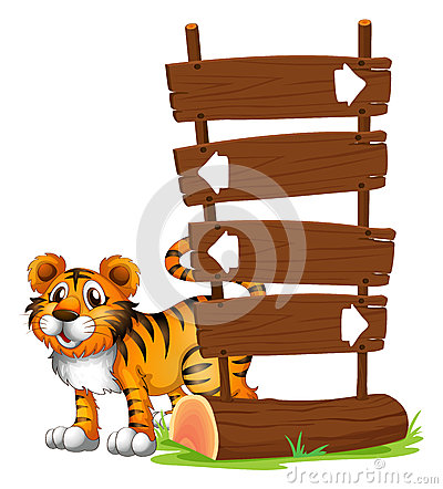 A tiger at the back of a signboard