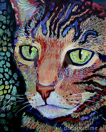 Tiger Cat Portrait - Acrylic Painting
