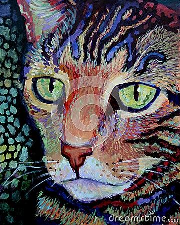 Tiger Cat Portrait - Acrylic Painting