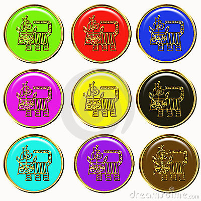Tiger chinese horoscope web buttons
