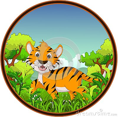 Tiger with forest background