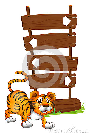 Tiger in front of a wooden signboard