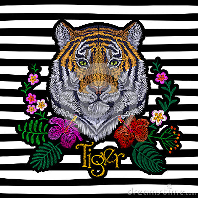 Free Tiger Head Tropic Flower. Front View Embroidery Patch Sticker. Orange Striped Black Wild Animal Stitch Texture Textile Print. Jung Royalty Free Stock Image - 94527026