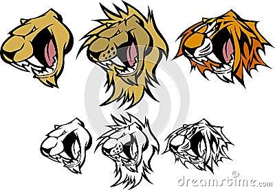 Tiger Lion Cougar Mascot Vector Logo