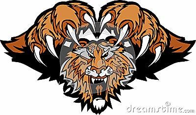 Tiger Mascot Pouncing Vector Logo