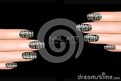 Leopard And Tiger Nail Art. Nail Polish Stickers W Stock Photo ...