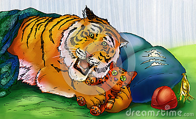 Tiger playing with toy tiger
