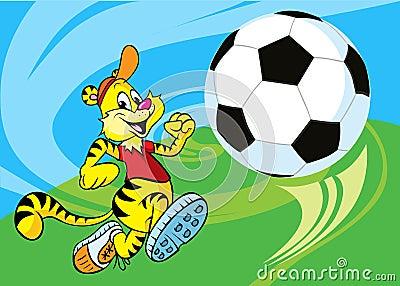 Tiger runs a soccer ball