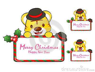 Tiger Santa Claus and deer mascot the event activity. Christmas