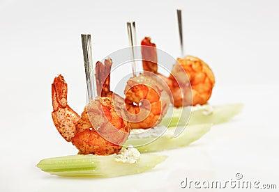 Tiger shrimp canape with celery