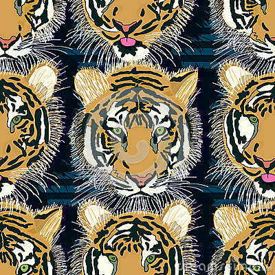Free Tiger Tongue Out Seamless Pattern Stock Images - 47323014