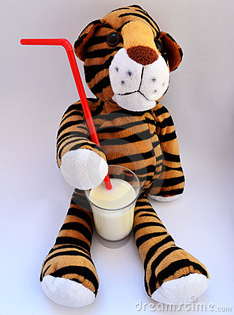 Tiger toy drinking milk