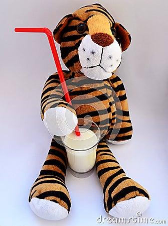 Tiger toy drinking milk