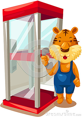 Tiger using phonebooth