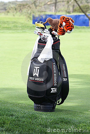 Tiger Woods Golf Bag Editorial Stock Photo