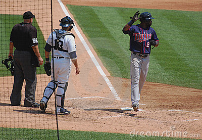 Tigers game July 11 2010,  Denard Span scores Editorial Stock Photo