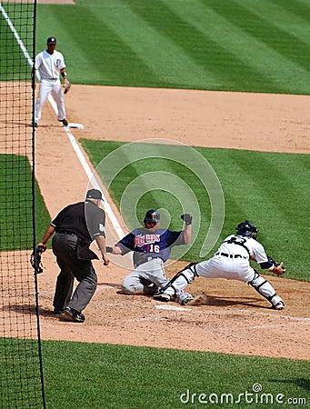 Tigers game July 11 2010,  Jason Kubel scores Editorial Image