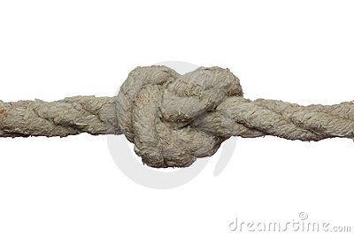 Tight knot on the old rope.