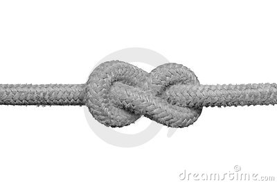 Tight knot on the rope.