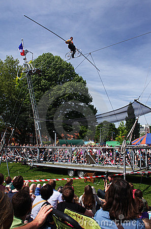 Tightrope artist Editorial Stock Photo