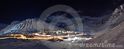 Tignes (Alps) at night panorama