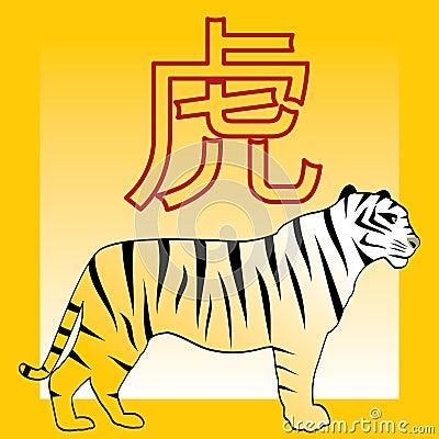 tigre chinois de japonais d 39 horoscope de hieroglyp photos libres de droits image 7374138. Black Bedroom Furniture Sets. Home Design Ideas