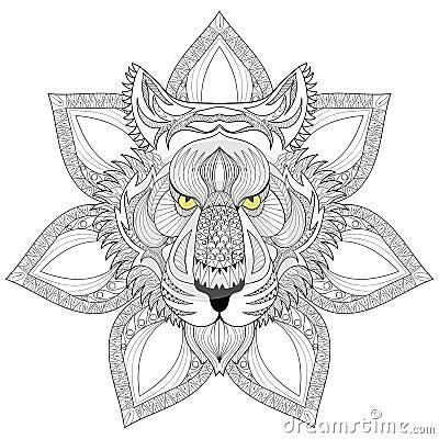 Tigre de vecteur visage de tigre de zentangle sur l 39 illustration de mandala tige illustration - Tigre mandala ...