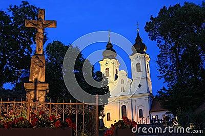 Tihany Abbey at night