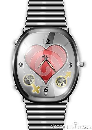 Tijd voor het conceptenhorloge van de Liefde met hart