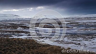 Tijdtijdspanne van dramatisch landschap in IJsland stock footage
