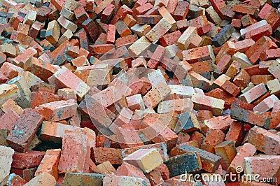 Tijolos vermelhos da construção